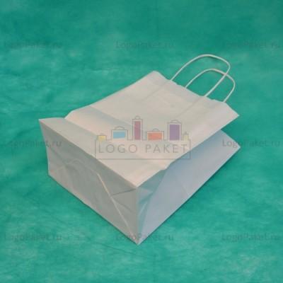 Белый крафт пакет 32х43х13 с кручеными ручками