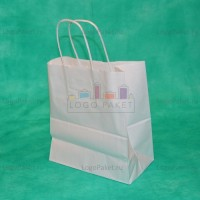 Белый крафт пакет 34,5х26х11 с кручеными ручками