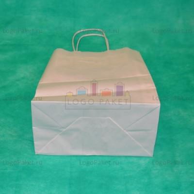 Белый крафт пакет 39,5х31х14 с кручеными ручками
