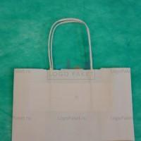 Белый крафт пакет 42,5х32х13 с кручеными ручками