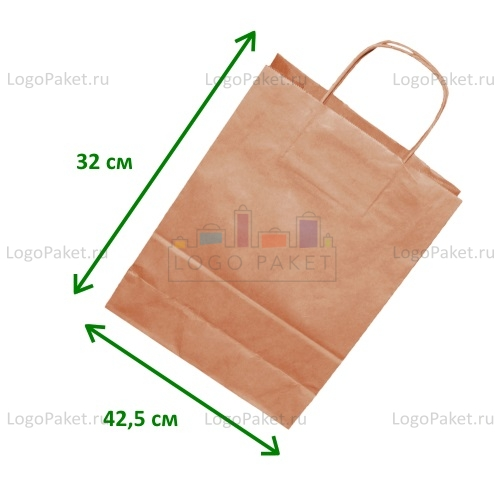 Крафт пакет 42,5х32х13 с кручеными ручками