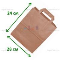 Крафт пакет 28х24х14 см с плоскими ручками и донной складкой заказать в интернет-магазине