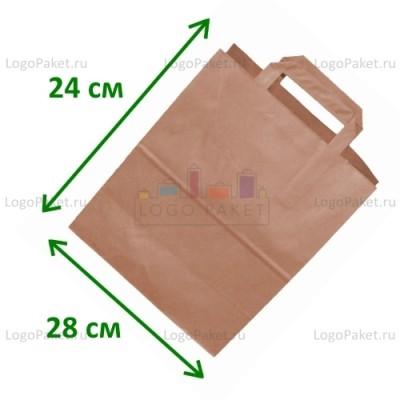 Крафт пакет 28х24х14 см с плоскими ручками и донной складкой