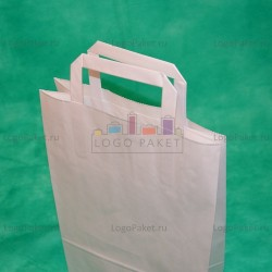 Белый крафт пакет 33х22х9 с плоскими ручками