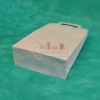Белый крафт пакет 34х22х10 с плоскими ручками