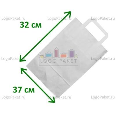 Белый крафт пакет 37х32х20 с плоскими ручками