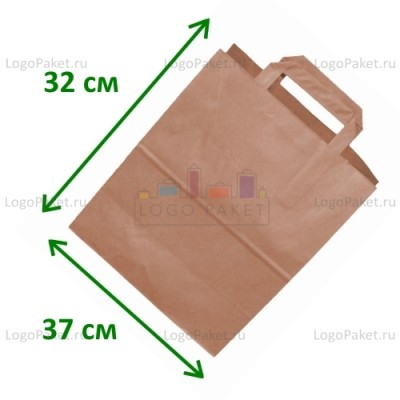 Крафт пакет с плоскими ручками 37х32х20