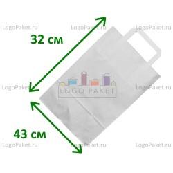 Белый крафт пакет 43х32х17 с плоскими ручками (80 г/м)