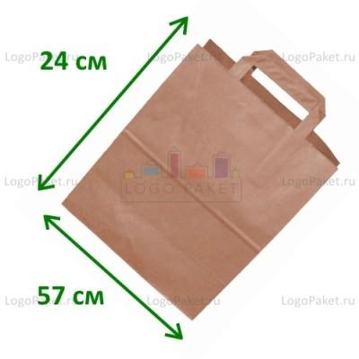 Крафт пакет с плоскими ручками 57х24х12