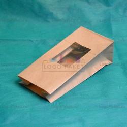 Крафт-пакеты 170*80*50 с прозрачным прямоугольным окном