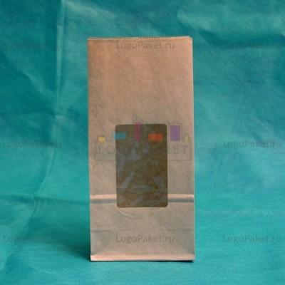 Крафт-пакеты с прозрачным прямоугольным окном 170*80*50
