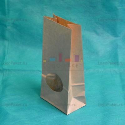 Крафт-пакеты 170*80*50 с округлым прозрачным окном