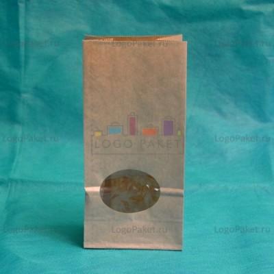 Крафт-пакеты с круглым прозрачным окном 170*80*50