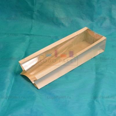 Крафт-пакеты с прозрачным окном 310*100*60 вид сбоку, видны боковые складки