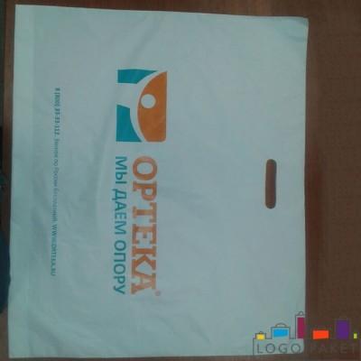 Пакет с вырубной ручкой ПНД 60х50 и донной складкой