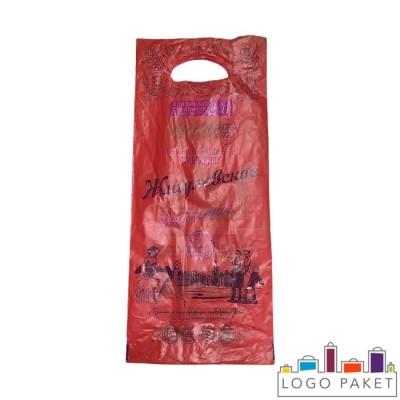 Пакет ПНД под бутылку 200х450 мм с вырубными ручками красный