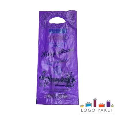 Пакет ПНД под бутылку 200х450 мм с вырубными ручками фиолетовый