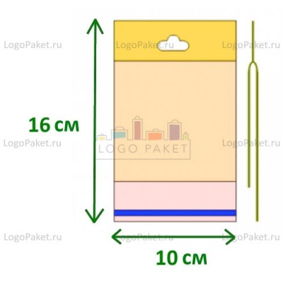 Полипропиленовые пакеты с еврослотом и клеевым клапаном ПП 10х16