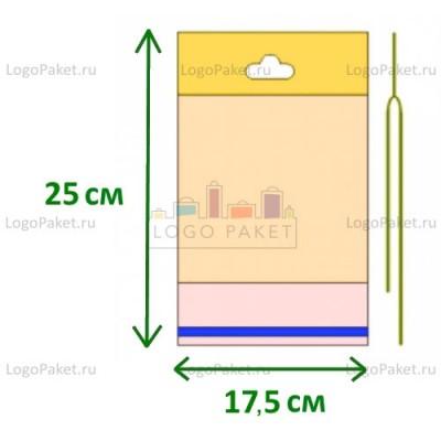 Полипропиленовые пакеты с еврослотом и клеевым клапаном ПП 17,5х25