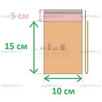 Пакет ПП 10х15+5л.кл. с клеевым клапаном