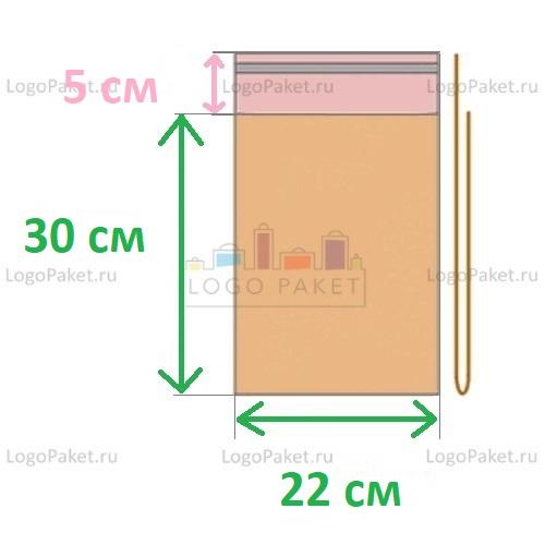 Пакет ПП 22x30+5л.кл. с клеевым клапаном