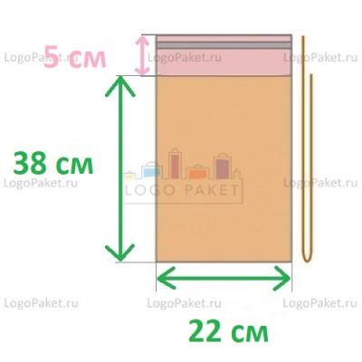 Пакет ПП 22x38+5л.кл. с клеевым клапаном