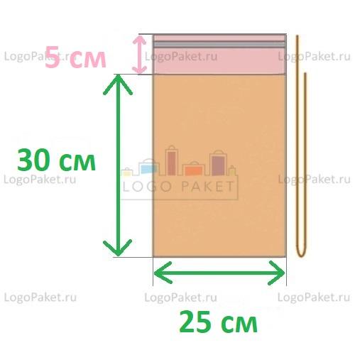 Пакет ПП 25x30+5л.кл. с клеевым клапаном