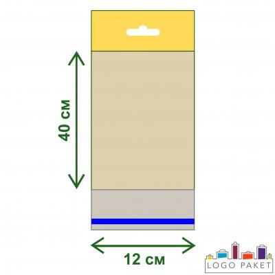 Полипропиленовые пакеты с еврослотом и клеевым клапаном ПП 12х40