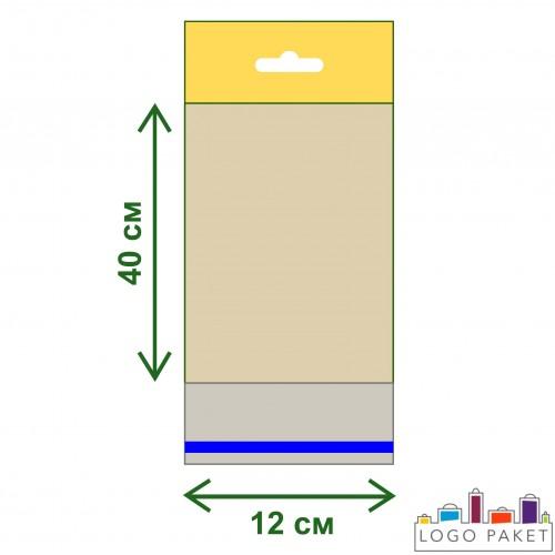 Пакет ПП 12х40 с еврослотом и клеевым клапаном