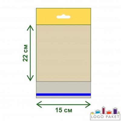 Полипропиленовые пакеты с еврослотом и клеевым клапаном ПП 15х22