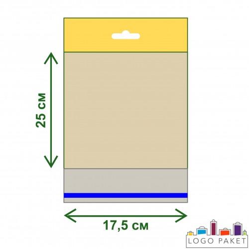 Пакет ПП 17,5х25 с еврослотом и клеевым клапаном
