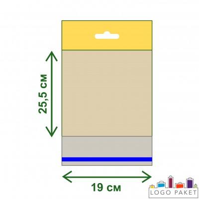 Полипропиленовые пакеты с еврослотом и клеевым клапаном ПП 19х25,5