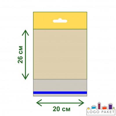 Полипропиленовые пакеты с еврослотом и клеевым клапаном ПП 20х26
