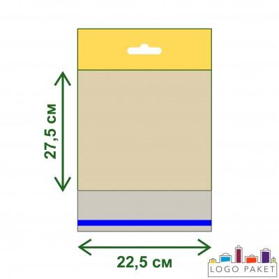 Полипропиленовые пакеты с усиленным еврослотом и клеевым клапаном ПП 22,5х27,5