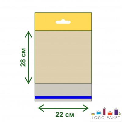 Полипропиленовые пакеты с еврослотом и клеевым клапаном ПП 22х28