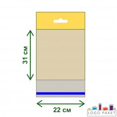 Полипропиленовые пакеты с еврослотом и клеевым клапаном ПП 22х31