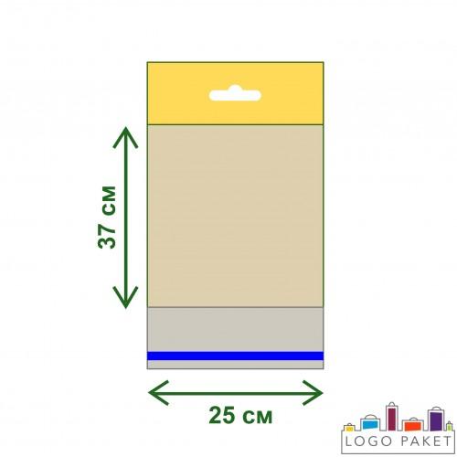Пакет ПП 25х37 с еврослотом и клеевым клапаном