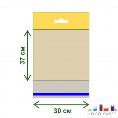 Полипропиленовые пакеты с еврослотом и клеевым клапаном ПП 30х37