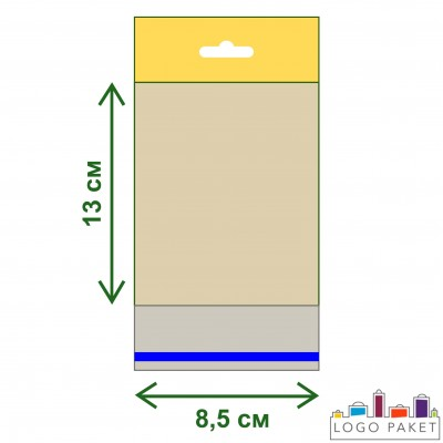 Пакет ПП 8,5х13 с еврослотом и клеевым клапаном