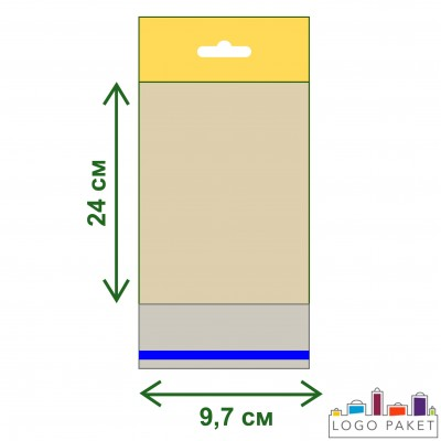 Пакет ПП 9,7х24 с еврослотом и клеевым клапаном