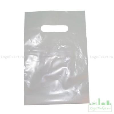 Пакет с вырубной ручкой и донной складкой ПВД 20х30 см