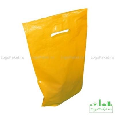 Пакет с вырубной ручкой и донной складкой ПВД 50*60 см