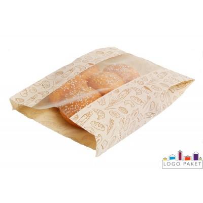 Бумажный крафт-пакет для пирожка с окном