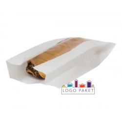 Бумажный пакет для выпечки со смотровым окном белый