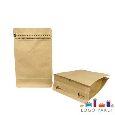 Крафт-пакет  для кофе с боковыми складками, клапаном дегазации и замком зип-лок