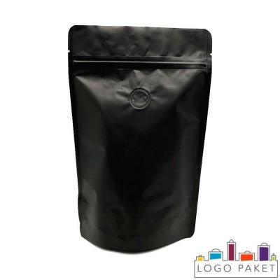 Пакет дой-пак для кофе с зип-замком и клапаном дегазации черный