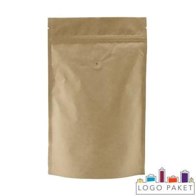 Пакет дой-пак для кофе с зип-замком и клапаном дегазации бежевый