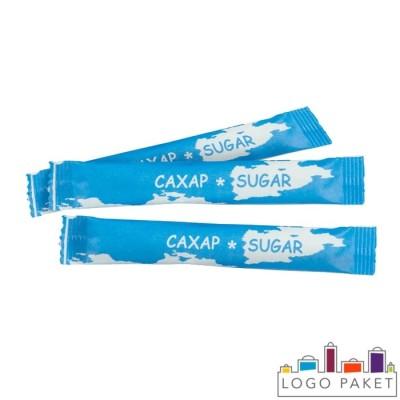 Пакетики стик бумажные для сахара с логотипом