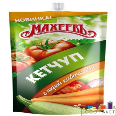 Пакет Дой-пак (doy pack) для кетчупа  с центральным штуцером