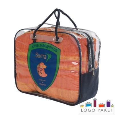 Сумка-чемодан ПВХ с ручками-шнурками на молнии